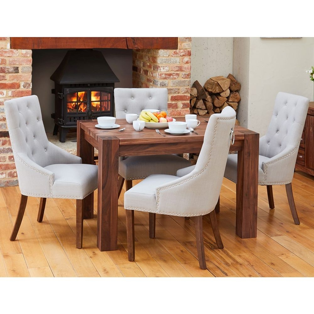 Shiro Solid Walnut Furniture Small Dining Table And Four Luxury Grey Chairs Set Online Sale