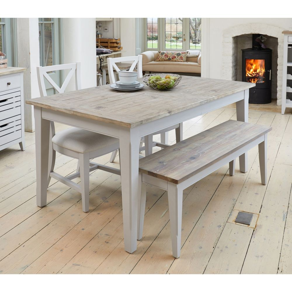 Huisen Furniture Small Grey Dining Room Table and 2 Bench Set for 4 People Seat Kitchen Dinette Set Wooden for Cafe Restaurant Grey