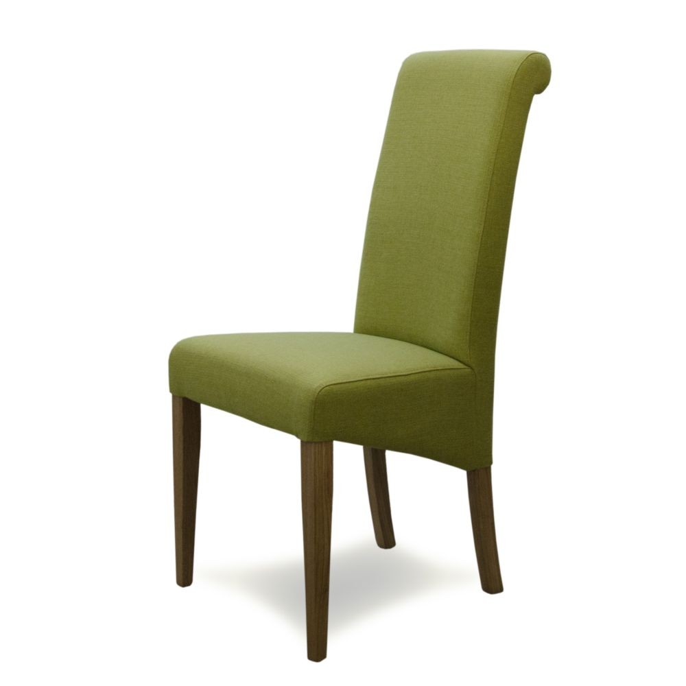 Italia Green Fabric Solid Oak Dining Chair Sale Now On