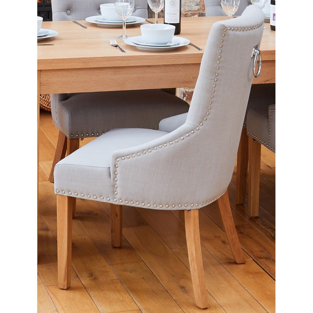 Mobel Solid Oak Furniture Narrow Back Grey Upholstered Dining Chair Sale