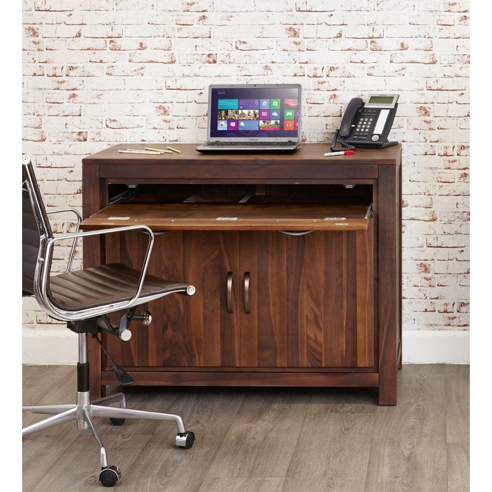 Mayan Solid Walnut Hidden Home Office Computer Desk