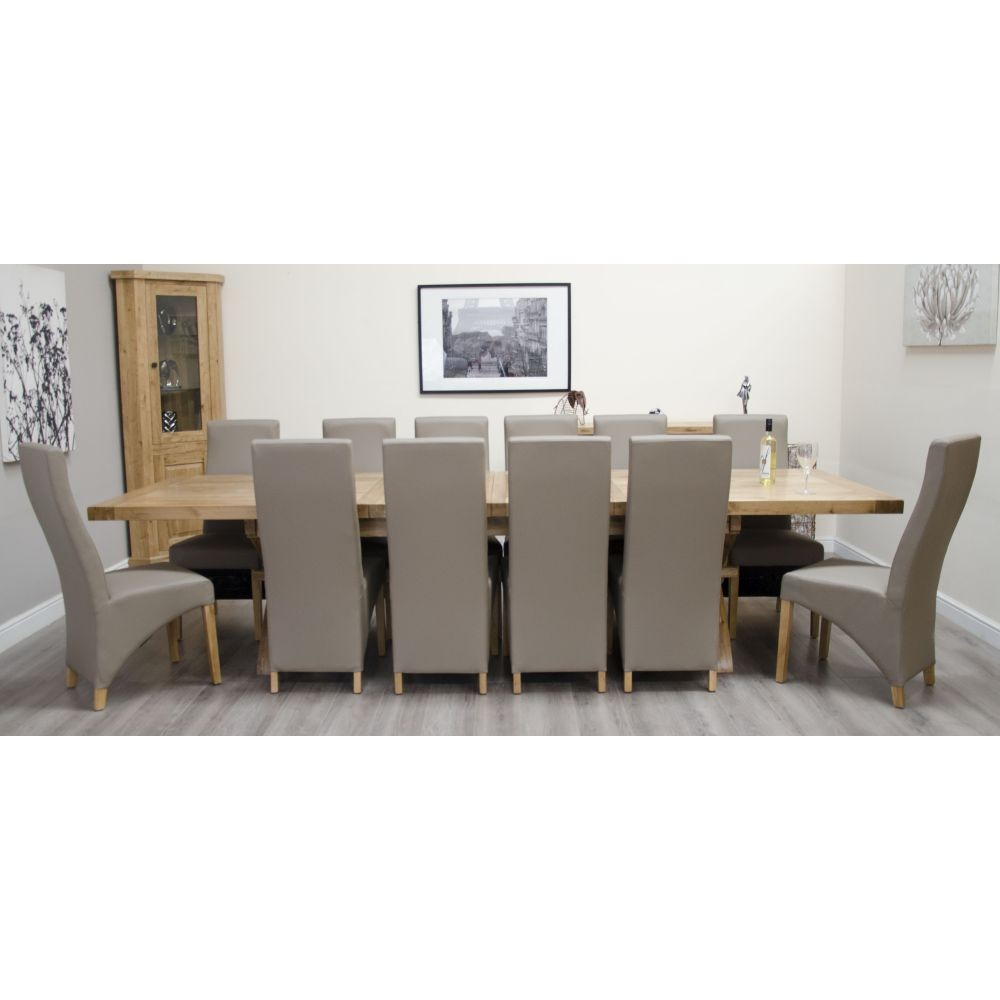 Deluxe Solid Oak Furniture Cross Leg Extending Dining Table 12 Chairs Sale Now On