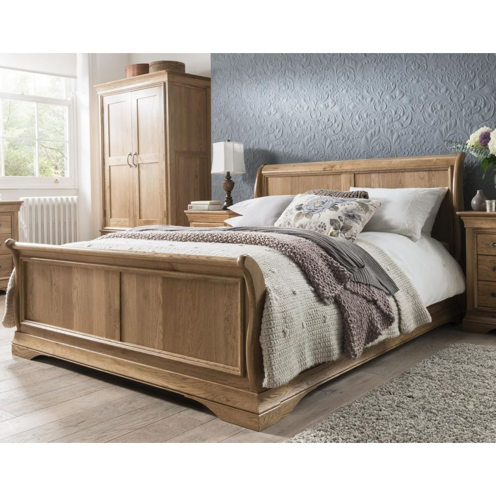 - French Solid Oak Furniture Super King Size Bed And Two Drawer
