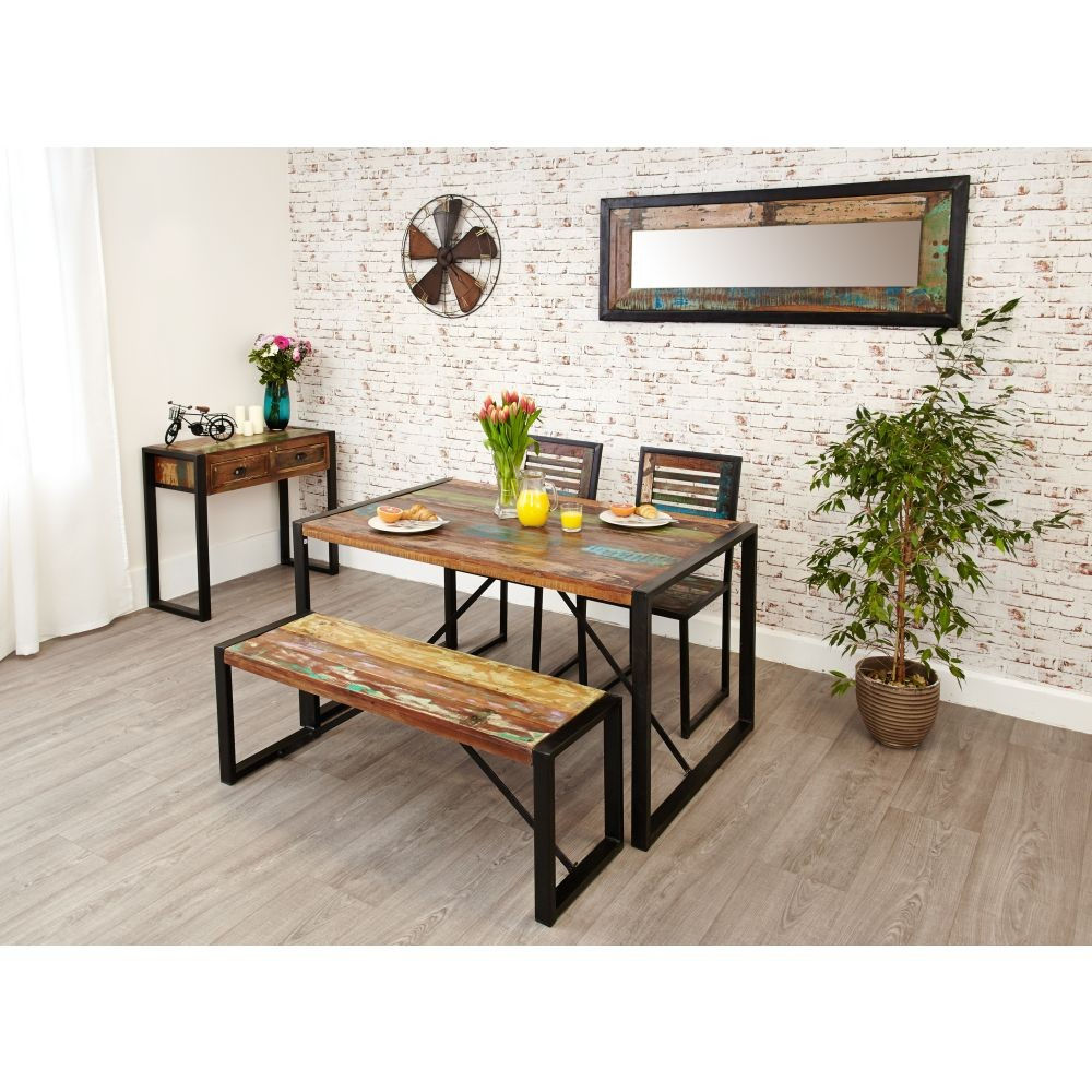 Urban Chic Reclaimed Furniture Small Dining Table With 2 Chairs And 1 Bench