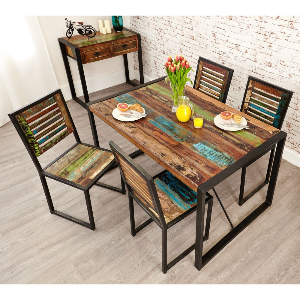Urban Chic Reclaimed Furniture Small Dining Table with 4 ...