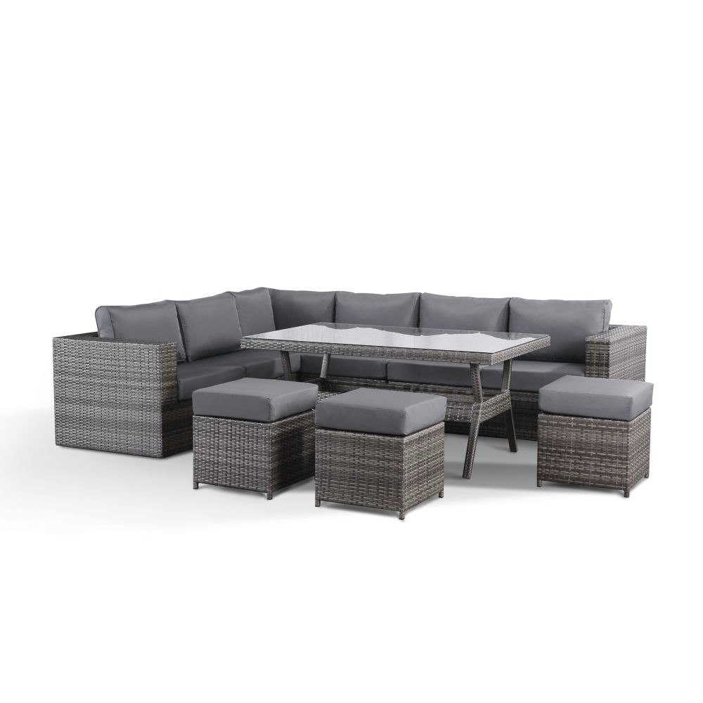Layla Grey Garden Corner Sofa with Dining Table, 10 Stools and Rain Cover Set