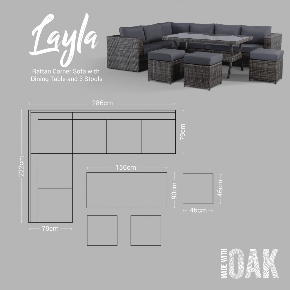 Layla Grey Garden Furniture Corner Sofa With Dining Table