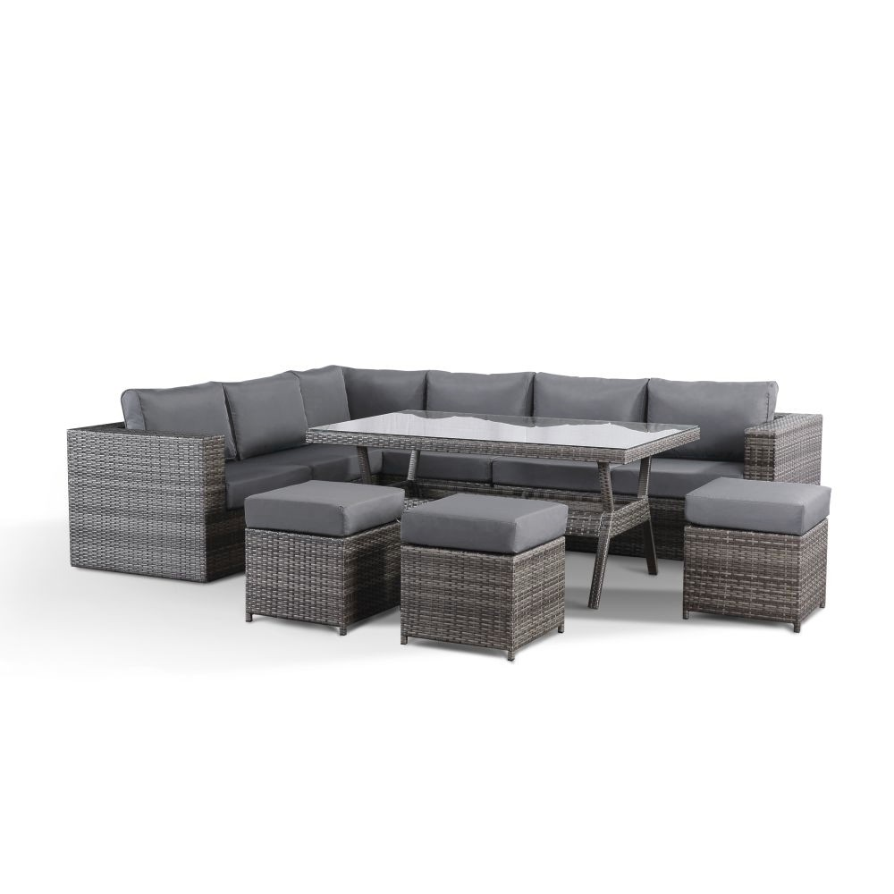 Layla Grey Garden Corner Sofa With Dining Table And 9 Stools