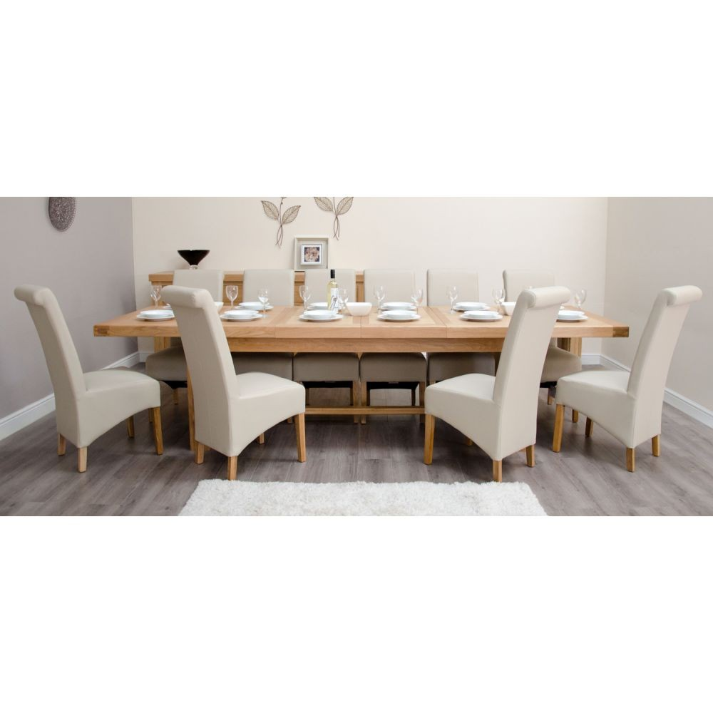 Bordeaux Solid Oak Large Dining Table, 9 Matt White Chairs